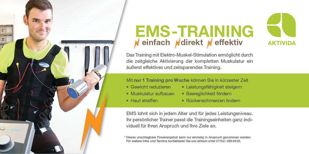 EMS-Training im AKTIVIDA, Römergalerie Leonberg