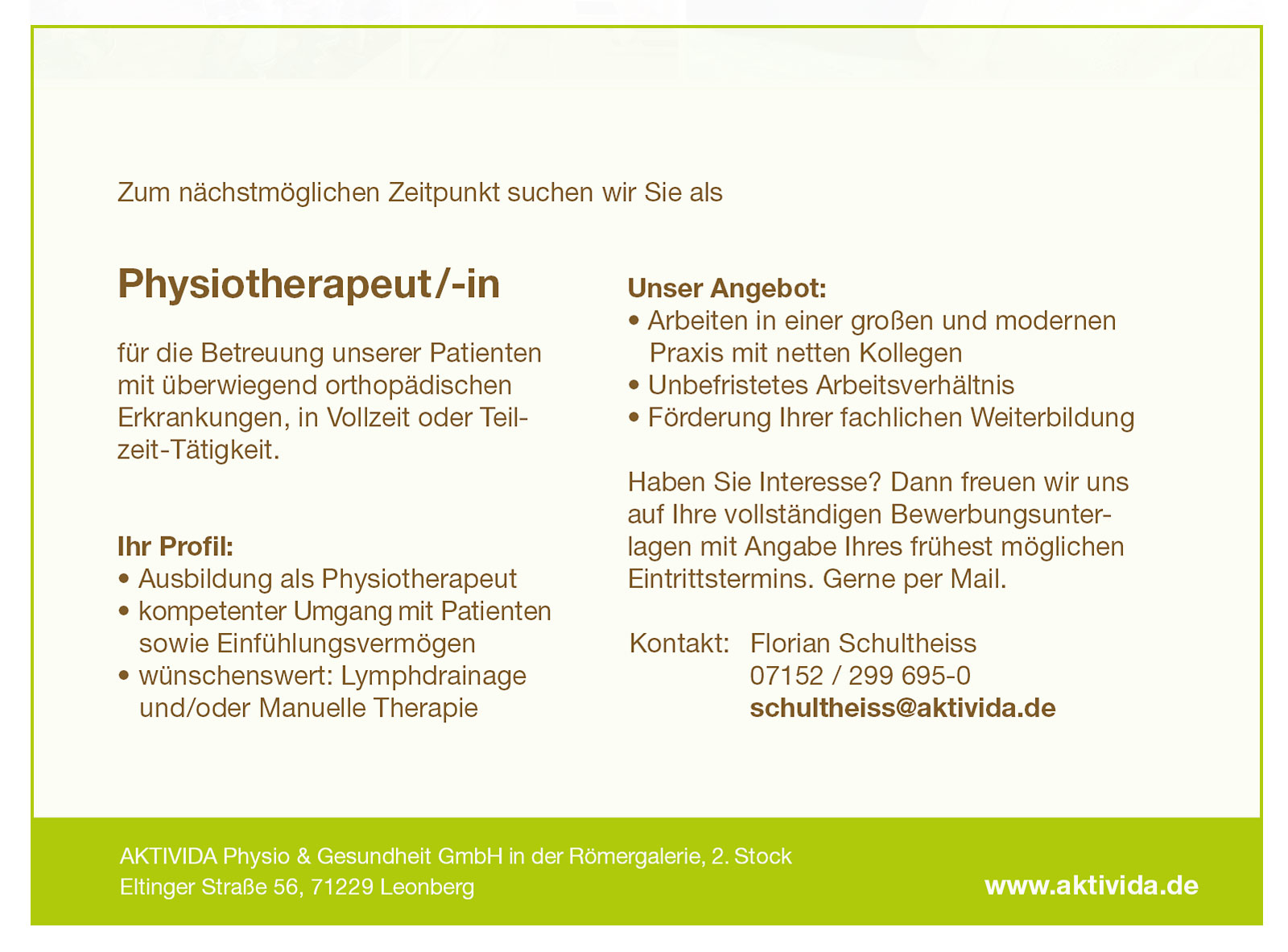 AKTIVIDA Leonberg Stellenangebot Physiotherapeut-in 02-2020