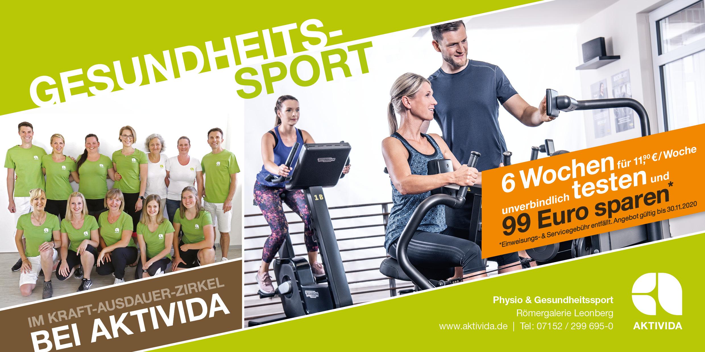 Gesundheitssport im AKTIVIDA - 6 Wochen unverbindlich testen - 99 Euro Servicegebühr sparen