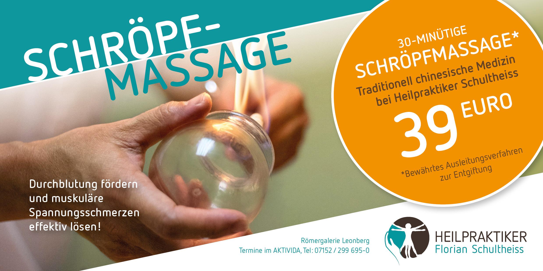 Schröpfmassage bei Heilpraktiker Florian Schultheiss, TCM - Traditionell chinesische Medizin, Entgiftung